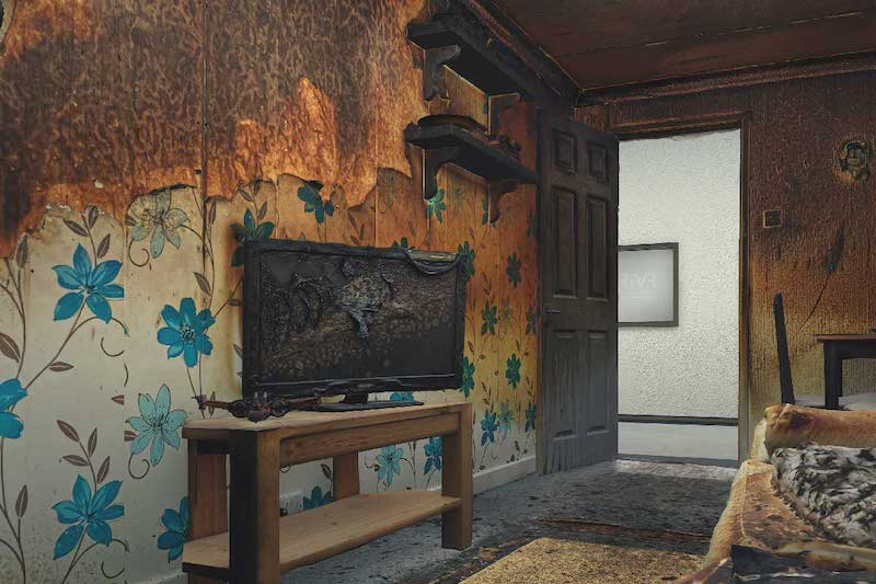 Computer generated burned room