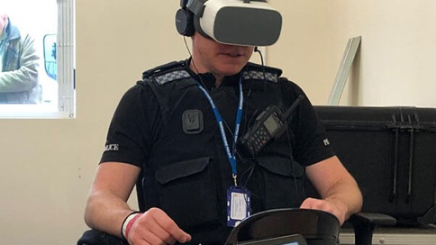 four images of vr simulation