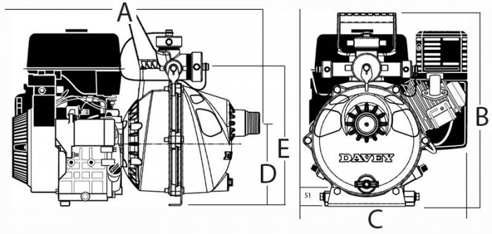 Davey 10 HP Twin Impeller Briggs & Stratton OHV Vanguard Portable Pump drawing